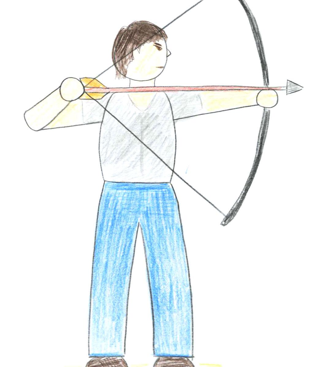 弓を引く人